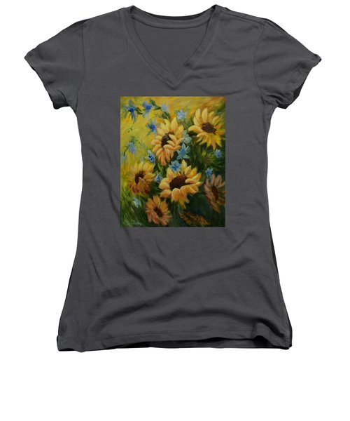 Sunflowers Galore Women's V-Neck