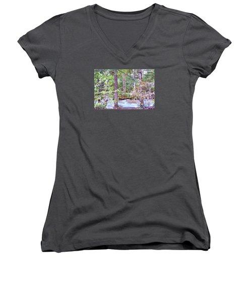 Spring Brook Women's V-Neck T-Shirt (Junior Cut) by John Selmer Sr