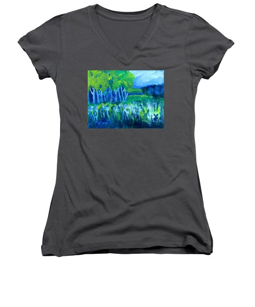 Women's V-Neck T-Shirt (Junior Cut) featuring the painting Spring Coming by Betty Pieper