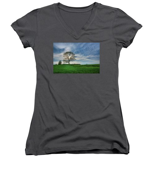 Women's V-Neck T-Shirt featuring the photograph Spring Coming On by Bill Pevlor