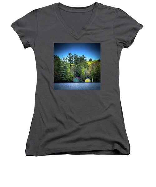 Spring Day At Old Forge Pond Women's V-Neck T-Shirt (Junior Cut) by David Patterson