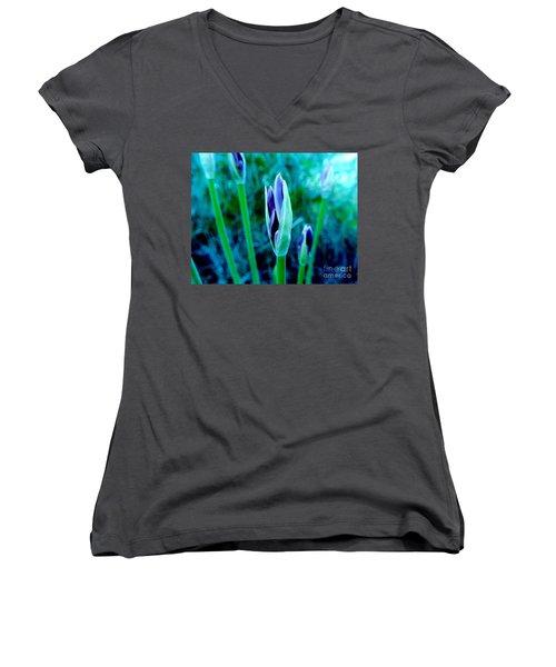 Women's V-Neck T-Shirt (Junior Cut) featuring the photograph Spring Erupting Early by Marsha Heiken
