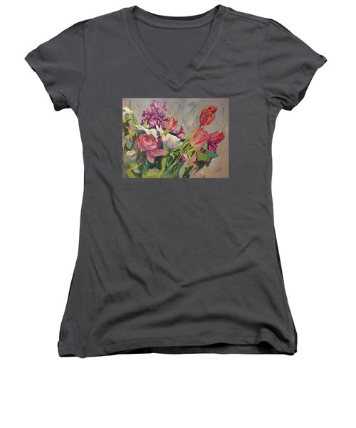 Spring Flowers Bouquet Women's V-Neck (Athletic Fit)