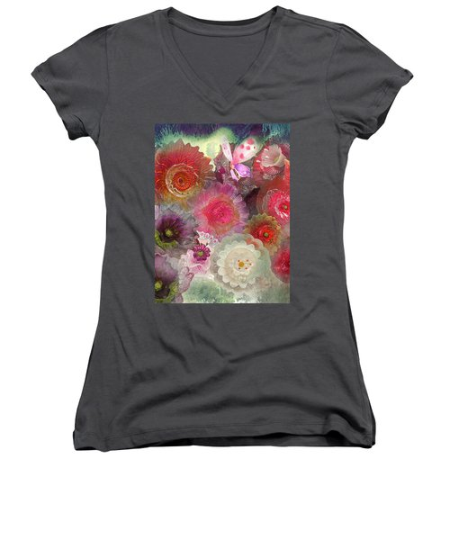 Women's V-Neck T-Shirt (Junior Cut) featuring the photograph Spring Glass by Jeff Burgess