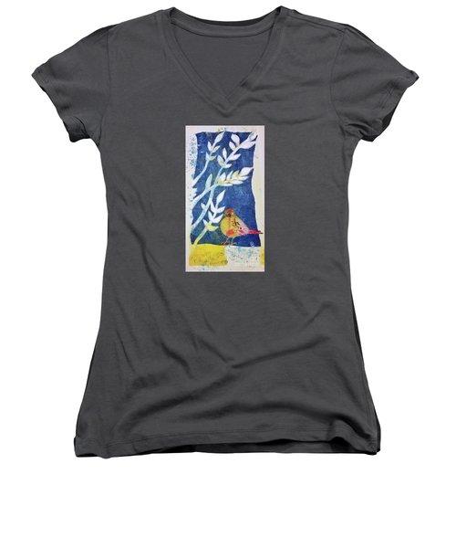 Women's V-Neck T-Shirt (Junior Cut) featuring the mixed media Spring Has Sprung by Cynthia Lagoudakis