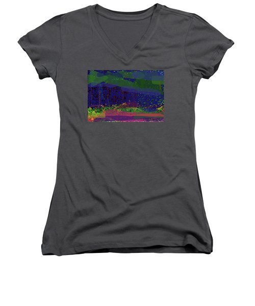 Women's V-Neck T-Shirt featuring the digital art Spring Homage To Jackson by Walter Fahmy