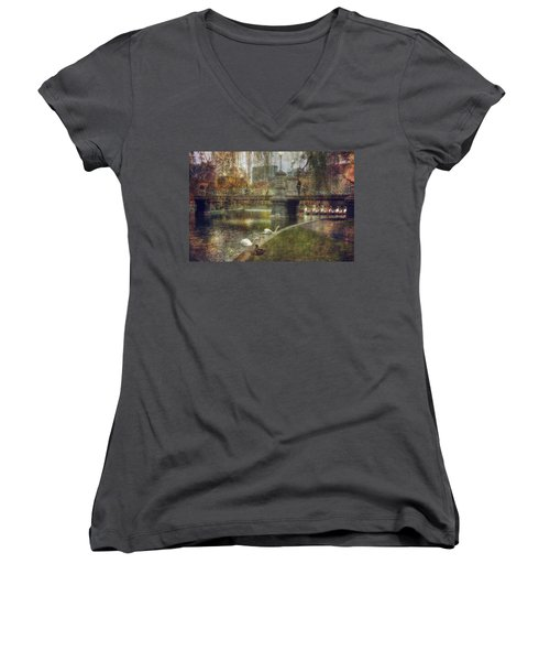 Spring In The Boston Public Garden Women's V-Neck T-Shirt