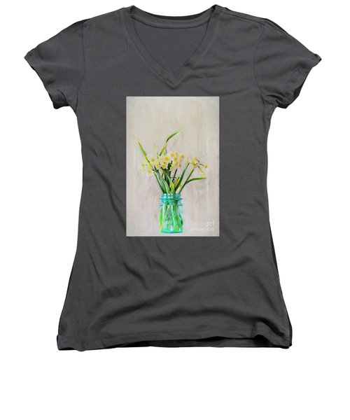 Women's V-Neck T-Shirt (Junior Cut) featuring the photograph Spring In The Country by Benanne Stiens