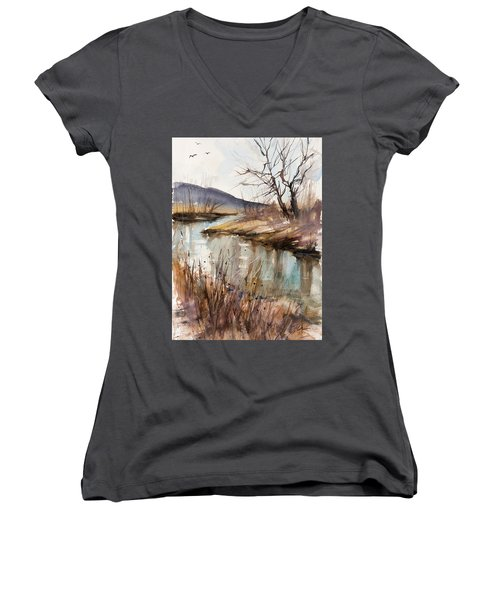 Spring Is Blushing Women's V-Neck T-Shirt (Junior Cut) by Judith Levins