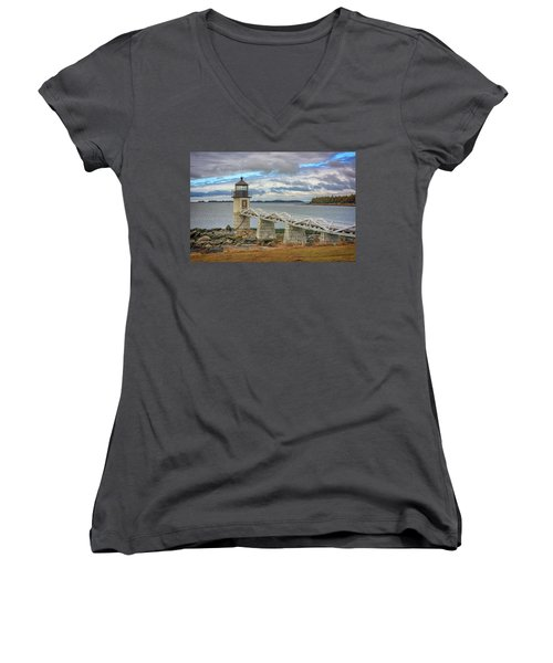Women's V-Neck T-Shirt (Junior Cut) featuring the photograph Spring Morning At Marshall Point by Rick Berk