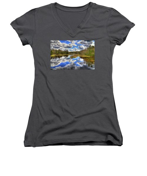 Spring Morning At The Green Bridge Women's V-Neck T-Shirt (Junior Cut) by David Patterson
