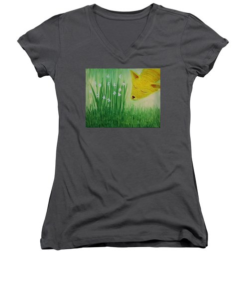 Women's V-Neck T-Shirt (Junior Cut) featuring the painting Spring Morning by Tone Aanderaa