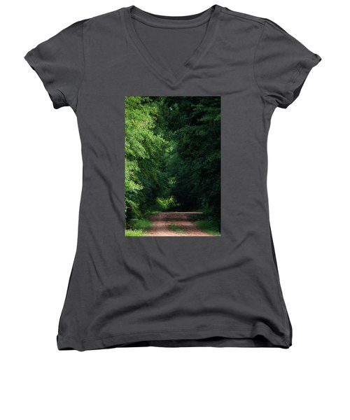 Women's V-Neck T-Shirt (Junior Cut) featuring the photograph Spring Path Of Light by Shelby Young