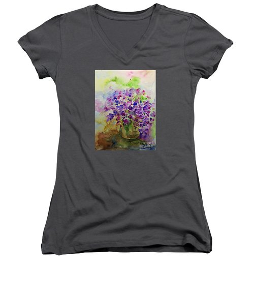 Women's V-Neck T-Shirt (Junior Cut) featuring the painting Spring Purple Flowers Watercolor by AmaS Art