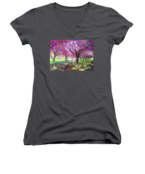 Spring Rhapsody, Happiness And Cherry Blossom Trees Women's V-Neck (Athletic Fit)