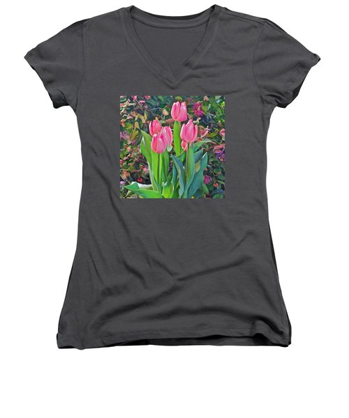 Spring Show 14 Pink Tulips  Women's V-Neck