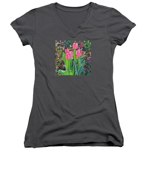 Spring Show 14 Pink Tulips  Women's V-Neck (Athletic Fit)