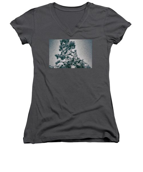 Spring Snowstorm On The Treetops Women's V-Neck