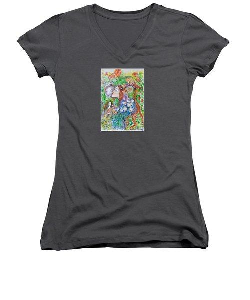 Spring Song Women's V-Neck T-Shirt (Junior Cut) by Rita Fetisov