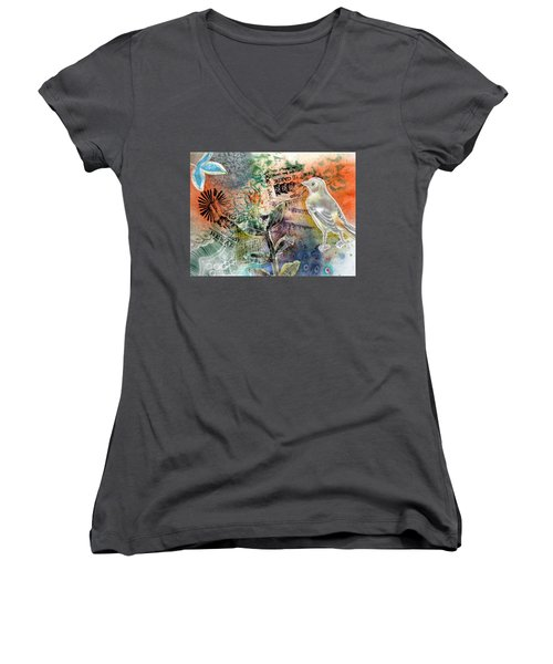 Women's V-Neck featuring the mixed media Spring Song by Rose Legge