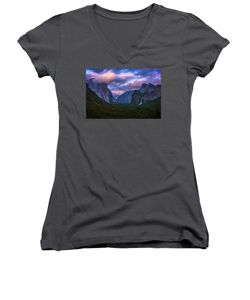Spring Sunset At Yosemite's Tunnel View Women's V-Neck