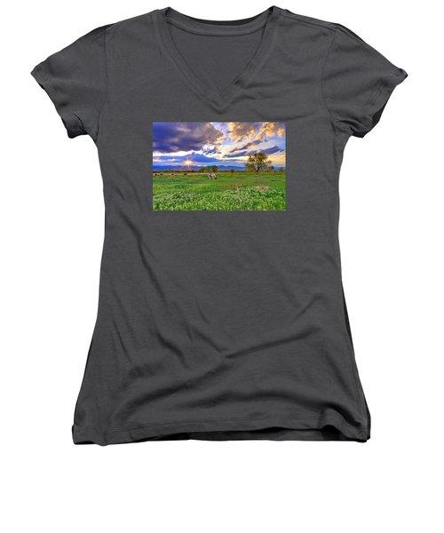 Spring Sunset Over The Rockies Women's V-Neck T-Shirt (Junior Cut) by Scott Mahon