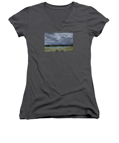 Spring Thunderstorm At Yellowstone Women's V-Neck
