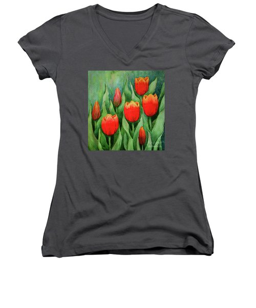 Spring Tulips Women's V-Neck (Athletic Fit)
