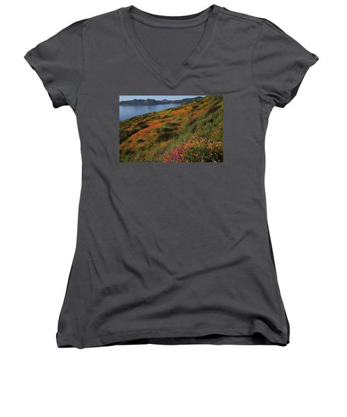 Women's V-Neck T-Shirt (Junior Cut) featuring the photograph Spring Wildflower Season At Diamond Lake In California by Jetson Nguyen