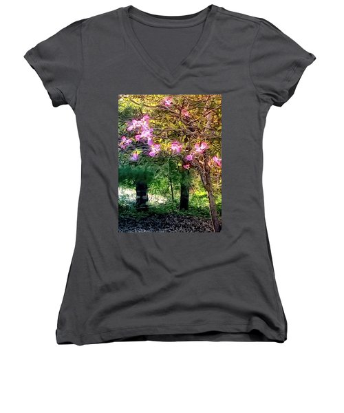 Spring Will Come Women's V-Neck T-Shirt (Junior Cut) by Robin Regan