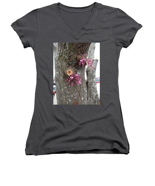 Spring Will Not Be Denied Women's V-Neck T-Shirt (Junior Cut) by Marie Neder