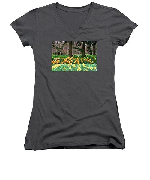 Spring Woodland Daffodils Women's V-Neck