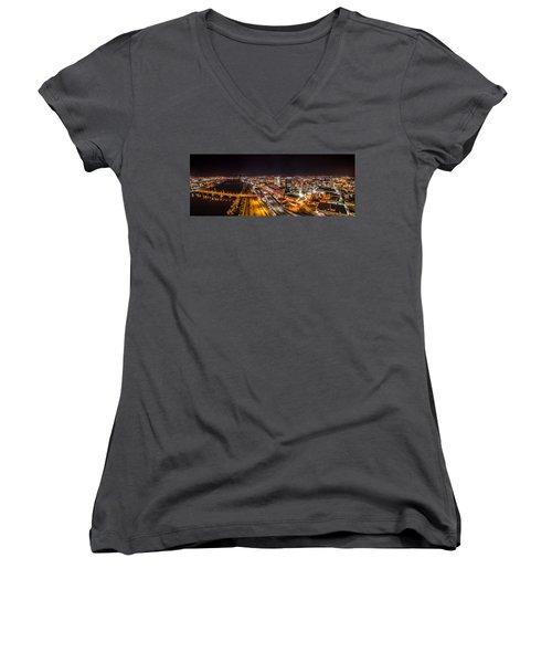 Women's V-Neck T-Shirt (Junior Cut) featuring the photograph Springfield Massachusetts Night Long Exposure Panorama by Petr Hejl