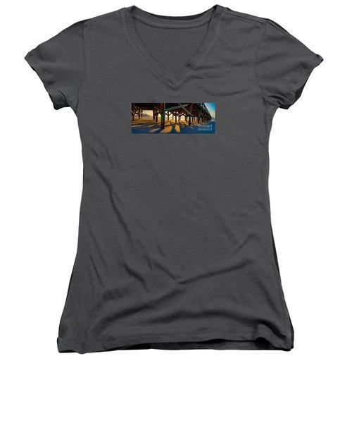 Springmaid Pier At Sunrise Women's V-Neck T-Shirt (Junior Cut) by David Smith