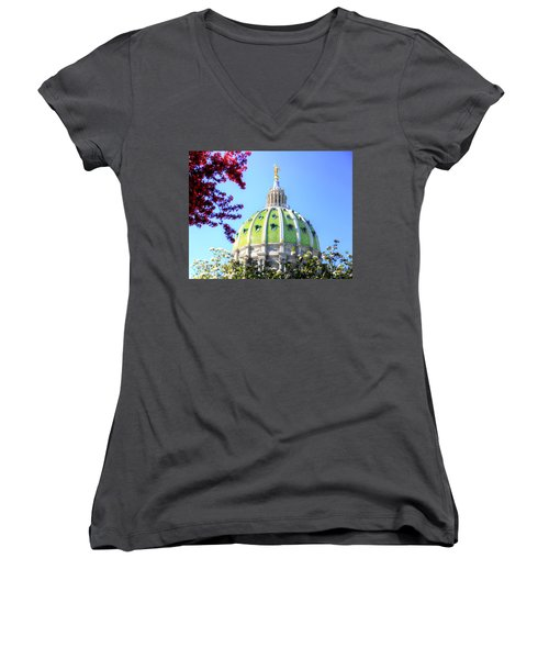 Women's V-Neck T-Shirt (Junior Cut) featuring the photograph Spring's Arrival At The Pennsylvania Capitol by Shelley Neff
