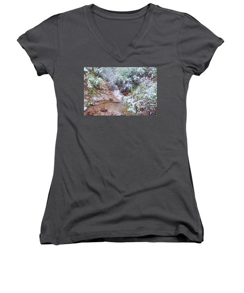 Springtime In The Colorado Rockies Implies Heavy, Slushy Snow, And Lots Of It. Women's V-Neck (Athletic Fit)