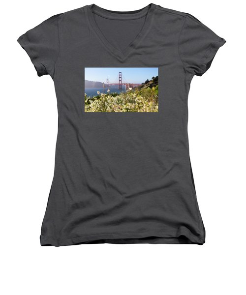 Women's V-Neck T-Shirt (Junior Cut) featuring the photograph Springtime On The Bay by Everet Regal
