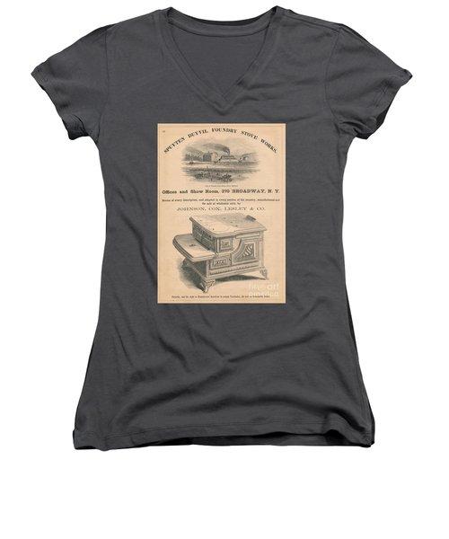Spuyten Duyvil Stoveworks  Women's V-Neck T-Shirt (Junior Cut) by Cole Thompson
