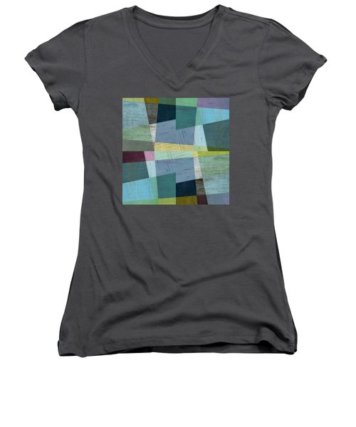 Women's V-Neck T-Shirt featuring the digital art Squares And Shims by Michelle Calkins
