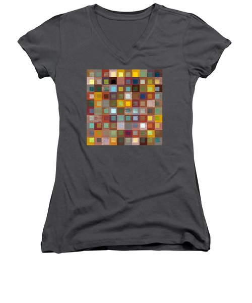Women's V-Neck T-Shirt (Junior Cut) featuring the digital art Squares In Squares Four by Michelle Calkins