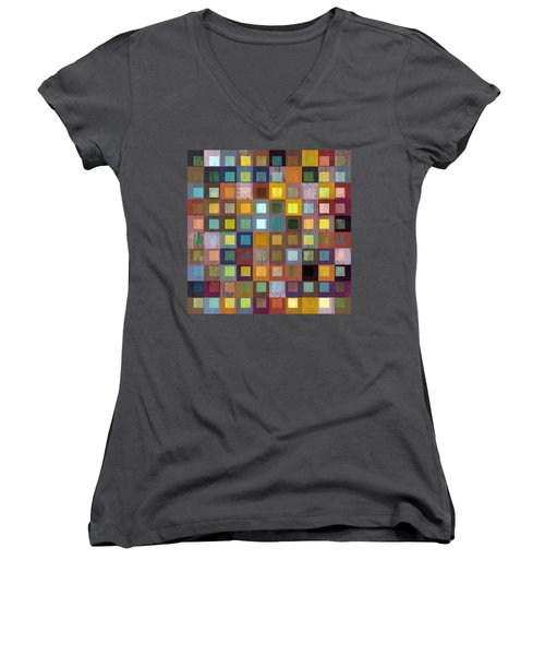 Squares In Squares One Women's V-Neck T-Shirt (Junior Cut) by Michelle Calkins