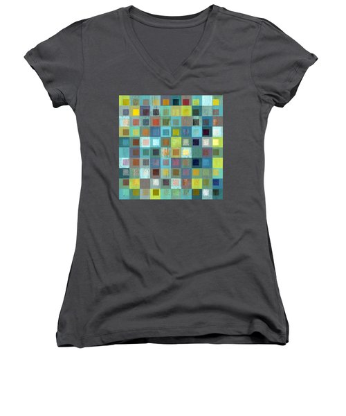 Women's V-Neck T-Shirt (Junior Cut) featuring the digital art Squares In Squares Two by Michelle Calkins