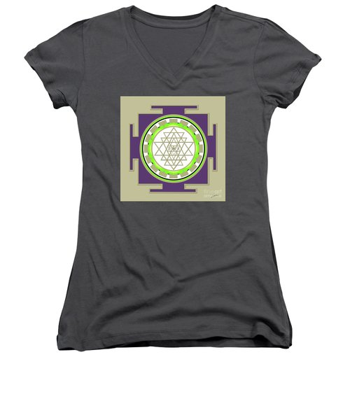 Sri Yantra Of Prosperity Women's V-Neck T-Shirt