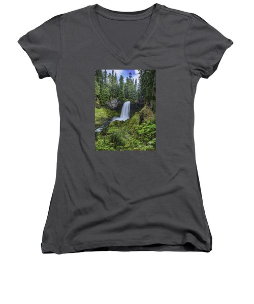 Women's V-Neck T-Shirt (Junior Cut) featuring the photograph Sahalie Falls,oregon by Nancy Marie Ricketts