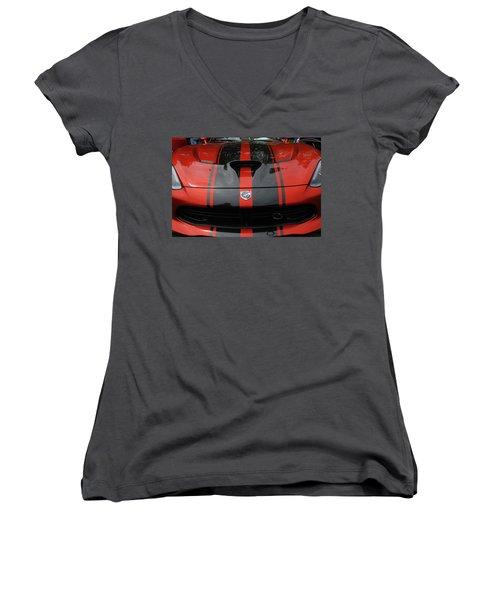 Women's V-Neck T-Shirt featuring the photograph Sssss by John Schneider
