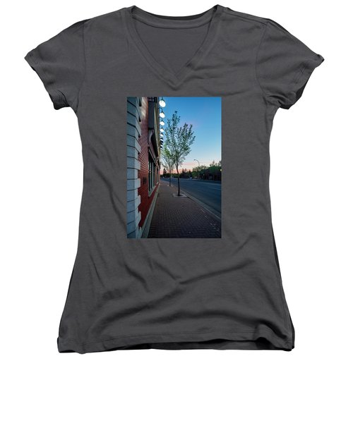 Women's V-Neck T-Shirt (Junior Cut) featuring the photograph St. Anne Street At Dusk by Darcy Michaelchuk