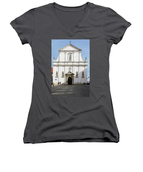 St. Catherine's Church Women's V-Neck T-Shirt (Junior Cut) by Steven Richman