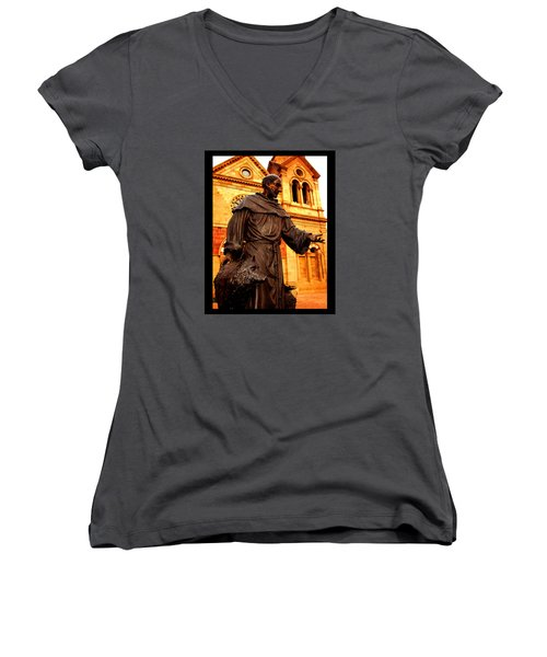 Women's V-Neck T-Shirt (Junior Cut) featuring the photograph Cathedral Basilica Of St. Francis Of Assisi by Susanne Still