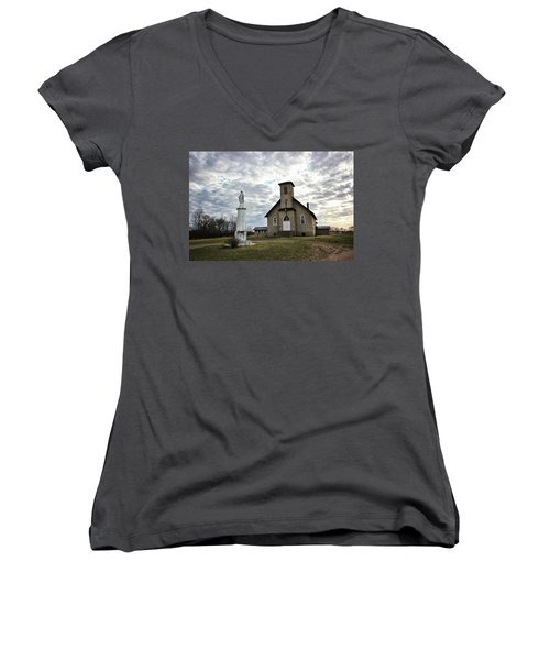 Women's V-Neck T-Shirt (Junior Cut) featuring the photograph St Hubert by Ryan Crouse