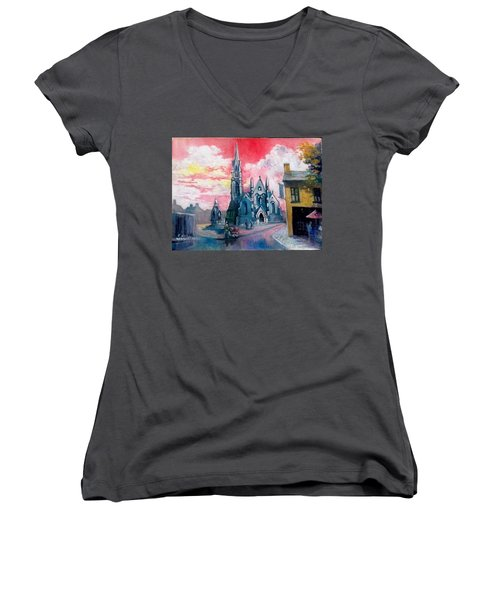 St Johns Cathedral Limerick  Ireland Women's V-Neck T-Shirt